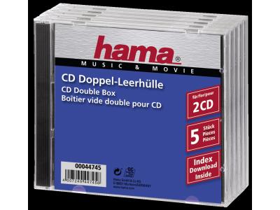 1x5 Hama dubbel-CD cases leeg 44745