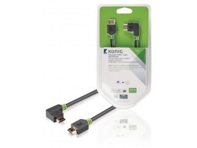 High Speed HDMI kabel met Ethernet HDMI-Connector - HDMI-Connector Haaks Links 3.00 m Antraciet