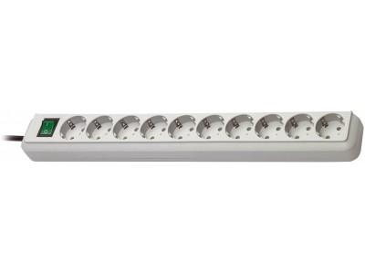 Stekkerdoos Eco-Line 10-Wegs 3.00 m Grijs - Protective Contact
