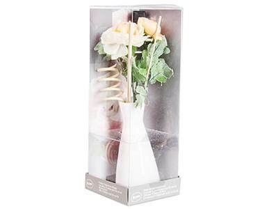 Aroma verspreider - vaas met kunststof bloem, geur en rotanstokjes